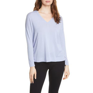 NEW EILEEN FISHER V Neck Tunic Sweater in Hyacinth
